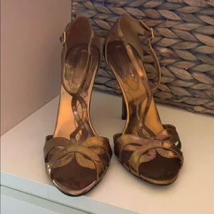 BCBGMaxazria Bronze Strappy Heels